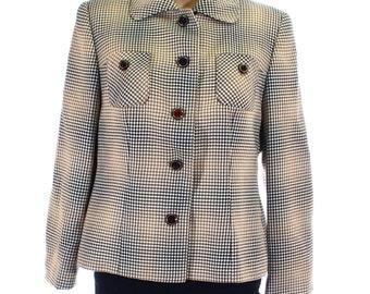 Vintage 70s Goldix Beige Gold Black Houndstooth Tweed Day Jacket Coat UK 10 US 8