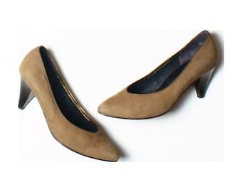 Vintage 80s Gabor Khaki Beige Leather Metallic Heel Court Shoes UK 4.5 US 7 EU 37.5