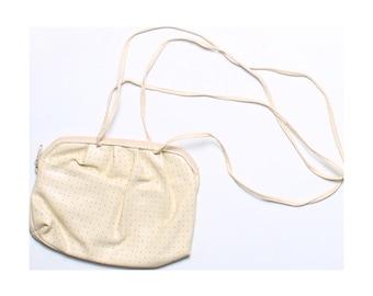 Vintage 80s Cream Faux Leather Polka Dot Perforated Handbag