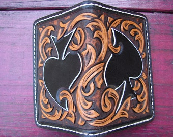 Spades & scrolls heavy duty small custom leather wallet/card holder