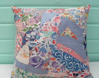 Petite Crazy Quilt Decorative Pillow 30s Feedsack Fabric Upcycled Recycled Remake Antique Home Decor Cottage Shabby Beach Primitive Chic
