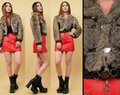 70s Vtg Amazing! Genuine Leather & Rabbit Fur Crop Jacket / Rock N Roll GLAM Hippie Boho rare Metal Buckle Front / Xs Sm *As-Is*