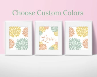 baby girl's nursery art, floral theme, neutral, children's room, dahlia, flowers, love, set of 3, custom colors, coral, yellow, green, blue