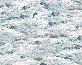 on SALE thru 8/1 BEAR MEADOW-white water rapids -rocks- landscape  by the 1/2 yard Wilmington fabric-94758-149
