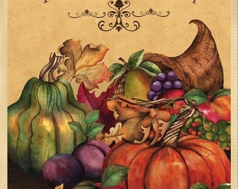 on SALE thru 8/1 fabric panel  THANKFUL HARVEST - Cornucopia  pumpkins gourds- by Wilmington Fabrics- 24 by 44 inches Fall Thanksgiving