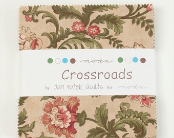 "MARDI GRAS SALE Moda Charm pack Crossroads  from Jan Patek Quilts 42 5"" squares cotton fabric"