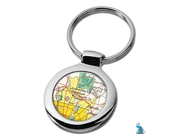 Map Keychain Towson Maryland Key Ring Fob