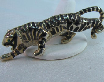 Vintage Gemcraft Gold and Black Stripped Tiger Brooch