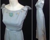 Vintage NOS DEADSTOCK 1960s Baby Blue Sleeveless Full Length Formal Maxi Prom Dress Gown Floral Embroidery / Women's XS / Unworn
