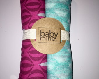Pink & Aqua, Modern Baby Burp Cloth Set of 2