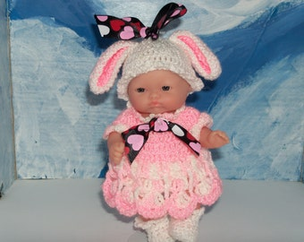 5 Inch Berenguer  Doll in Crocheted Lop Ear Bunny Outfit
