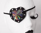 Iridescent Heart Shaped Eye Patch Shiny Rainbow PVC