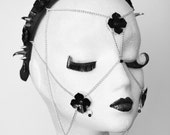 Chained Black Flowers Face Harness Headband