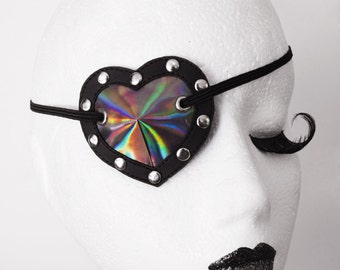 Atomic Heart - Iridescent Heart Shaped Eye Patch Shiny Rainbow PVC
