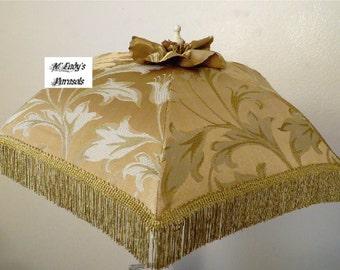 VICTORIAN PARASOL Umbrella in Gold on Gold Damask with Elegant Gold Bullion Fringe/Ruffle Bridal Wedding Steampunk Civil War Second Line