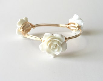 Large White Rose Wire Wrapped Bangle Bracelet