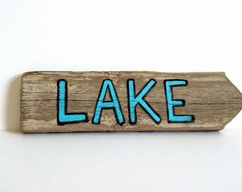 Hand Painted Lake Sign on Reclaimed Fence Picket - Outdoor Sign, Patio Sign, Beach House, Lake House Decor