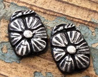 Flower Charms - Floral Handmade Jewelry Embellishments in Rustic Pewter - Vintage Flower Design