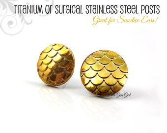 Gold Dragon Scale Earrings - Golden Dragon Egg Studs 10mm or 12mm Titanium or Stainless Steel - Gold Mermaid Scale Earrings Small Gold Studs