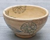 Botanical Art, Nature Lover Gift, Flower Bowl, Hand Painted Bowl, Wheel Thrown Pottery, Handmade Bowl, Serving Bowl, Decorative Bowl, Nature