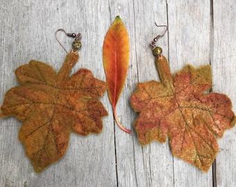 Autumn Leaf earrings-Maple Leaf earrings-unique earrings-statement earrings-Leaf Earrings - mermaid  Accessory- leaf earrings