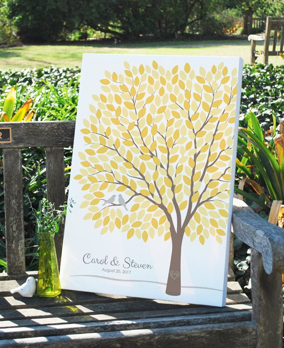 Custom Wedding Tree Guest Book Alternative, Rustic Wedding Tree Guest Book, Personalized Love Birds Poster, 50-300 Guests, Canvas or Print