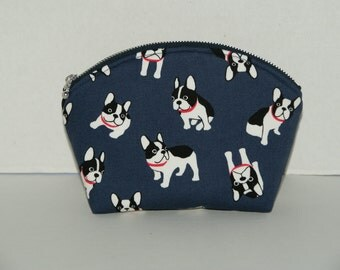 "Padded Round Top Pouch With Pocket / Shell Pouch/ Cosmetic Bag Made with Japanese Cotton Oxford Fabric ""French Bulldog"""