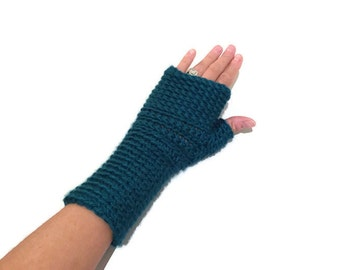 Teal crochet fingerless gloves texting gloves mitts blue wrist warmers