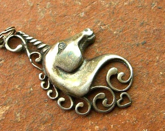 Vintage Sterling Silver Scroll Unicorn Pendant