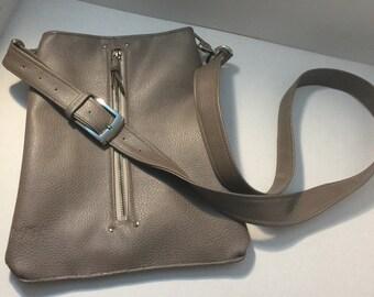 Three Pocket, Taupe Tan Faux Leather Crossbody Adjustable Shoulder Strap, Matching Zippered Front Pocket, Back Pocket