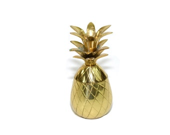 Vintage Small Brass Pineapple Mini Brass Pineapple Container Brass Pineapples