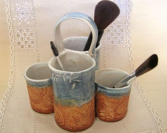 Utensil Holder, Make Up Brush Holder, Craft Tool Organizer, Paint Brush and Drawing Pencil Caddy, Office Desk Organizer, Blue, Burnt Orange