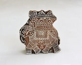 Indian Elephant Stamp, Festival Elephant,  Wooden Printing Block, Hand Carved Wood Stamp, Handmade Clay Stamp, Textile Stamp, India Decor