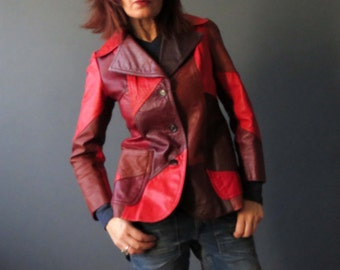 90s 70's Style Red Brown Patchwork Tailored Leather Jacket Mod Hipster Genuine Leather Small