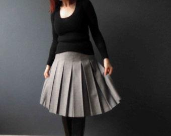 60s 70s Wool Mix Pleated Skirt Heather Light Grey Fletcher Jones Petite Small
