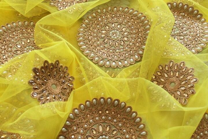 Half yard yellow embroidered net fabric wedding
