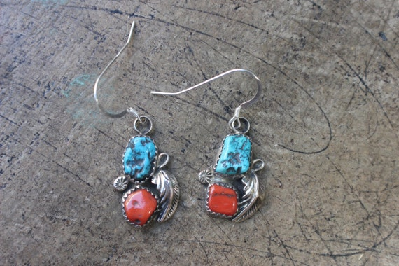 Squash Blossom Earrings / Turquoise and Coral Navajo Style Earrings / Southwest Sterling Jewelry