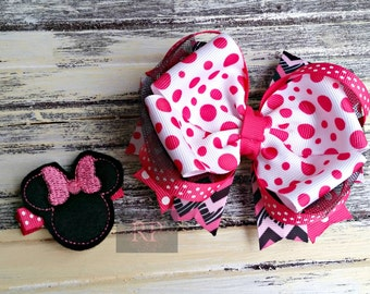 Tulle Boutique Hairbow with Felt Minnie Mouse Center - Disney Hair Clip - Hand Sewn