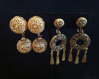 Two Pairs of Vintage Dangle Clip On and Earrings