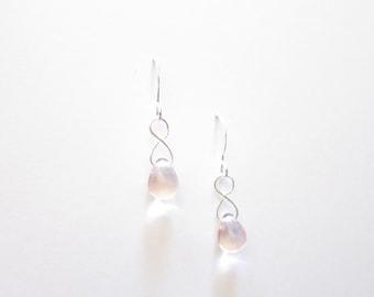 Rosaline Pink Czech Glass Dangle Drop Teardrop Earrings TCJG