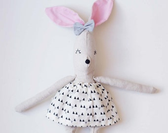 Nela handmade rag doll // bunny doll //( you can select her clothes)// soft toy, kids deco, birth gift
