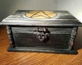 SALE! Original Witches' Shadow Box - Deer Antler Necklace, Pentagram Necklace, Crystals In Black Velvet Pouch