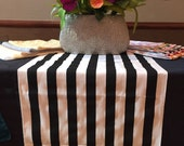 """Black and White Stripe Table Runner 25"""" width - DOVE TAIL - Select A Size and Color for Borders"""