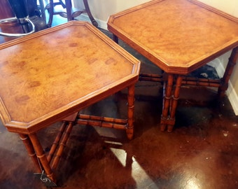Pair Vintage Burl Wood Side Tables Giorgetti or Style Gorgeous Condition Fine Home Furnishings