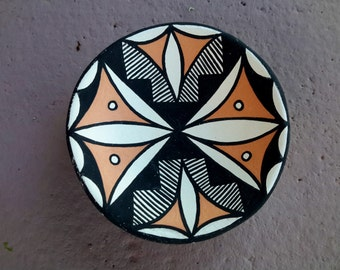 Miniature Acoma Pottery Bowl Geometric Pattern Hand Crafted Decorated A. Vallo Native American
