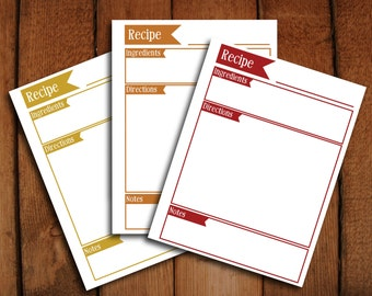 Editable Recipe Binder Pages in Warm Colors - Red, Yellow, Orange - Microsoft word editable to type on and PDF printable