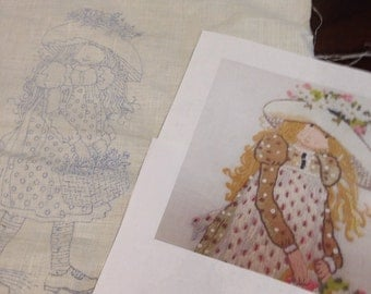 Vintage Holly Hobbie printed fabric for embroidery 19 x 15 inches