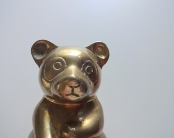 Vintage Solid Brass Panda Bear 1980s