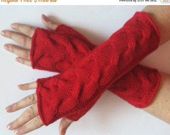 "Red fingerless gloves 10"" arm warmers mittens Acrylic Wool"