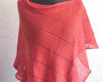 Linen Shawl Cape Clothing Red Stripes Striped / Clothing For Women